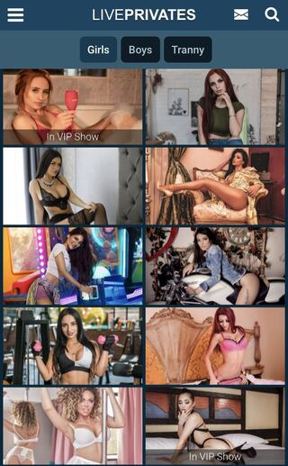 LivePrivates' mobile gallery of cam models